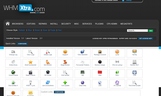 WHMXtra Ultimate Pro Suite Main Page